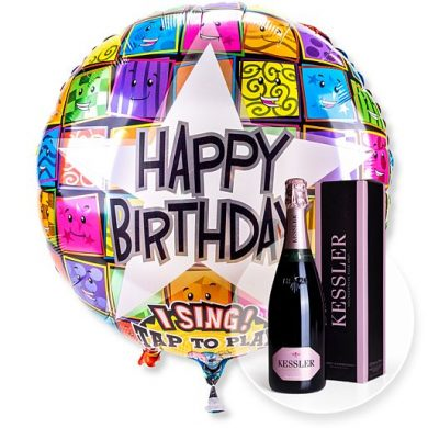 Singender Ballon Happy Birthday Faces und Kessler Rose Sekt | Blumen Online bestellen